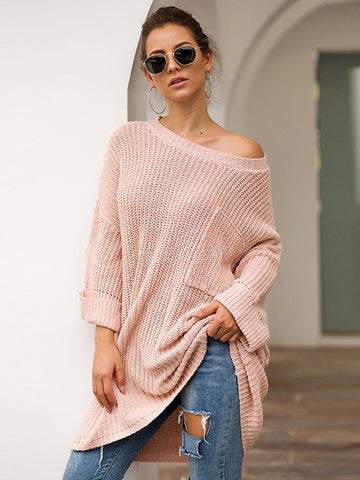 Loose Solid Color V-neck Knit Sweater