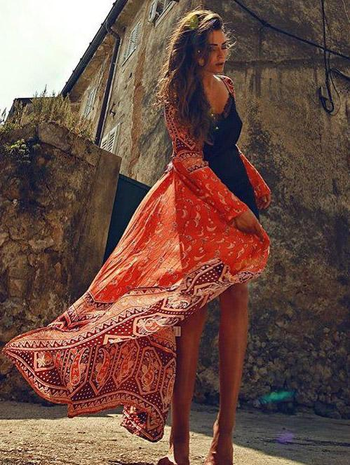 Floral Long Sleeves Beach Cover-Ups Dress