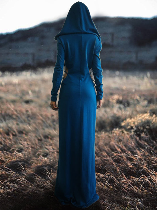 Hollow Hooded Long Sleeves Maxi Dress