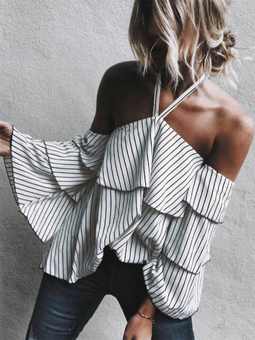 New Printed One-shoulder Blouse