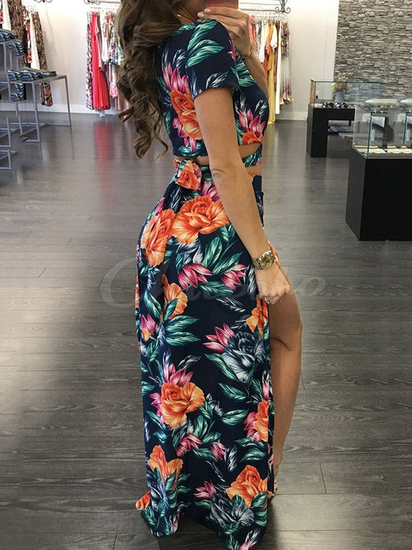 Fashion Printed Tops And Long Skirt Suits
