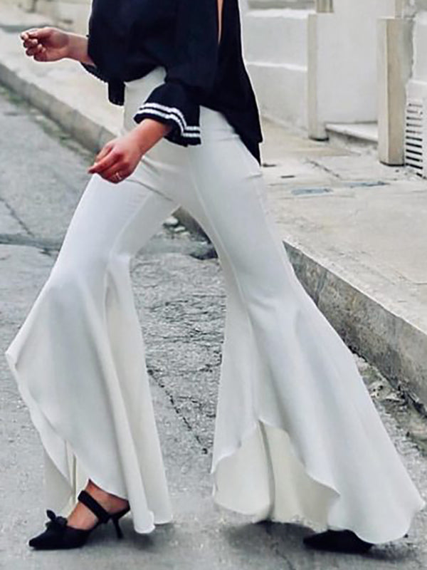 White Asymmetric Split-joint Bell-bottoms