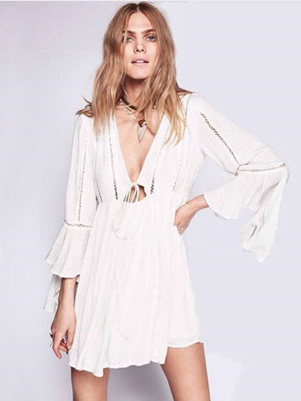 Solid Deep V-neck Ruffled Mini Dress