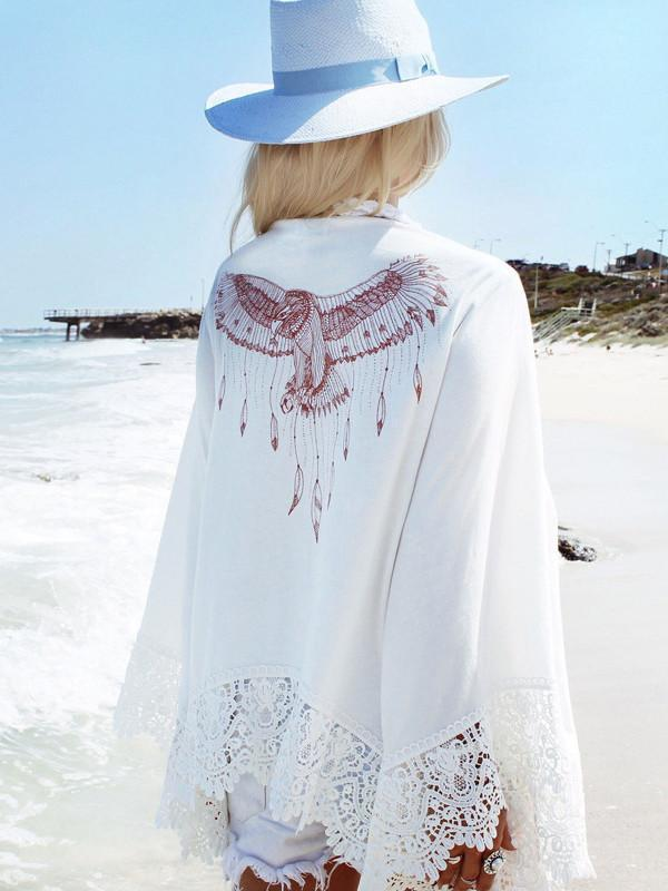 Lace Sleeves Mini Eagle Print White Bohemia Beach Cardigan Tops
