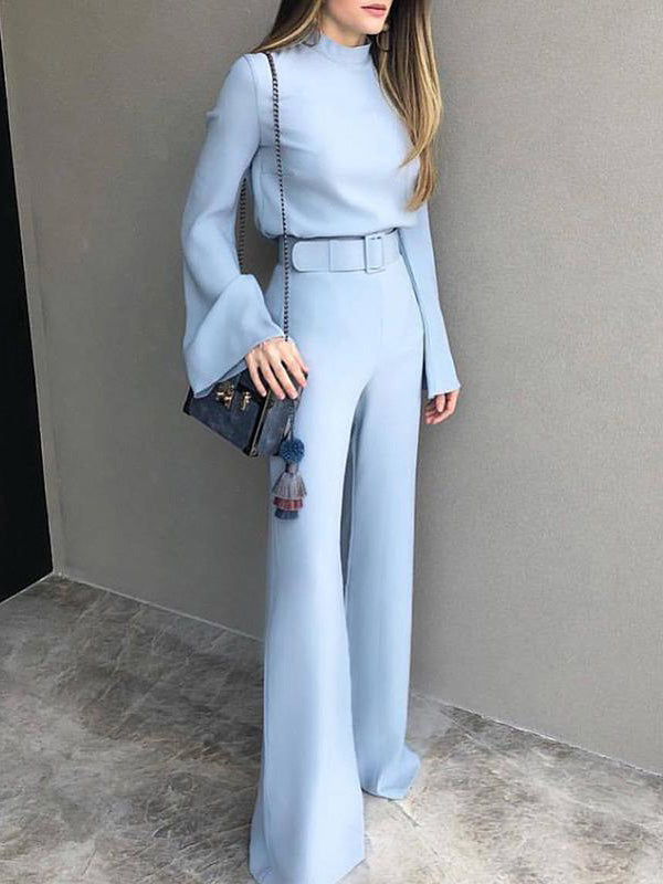 Sexy Blue Top And Casual Pants Suits