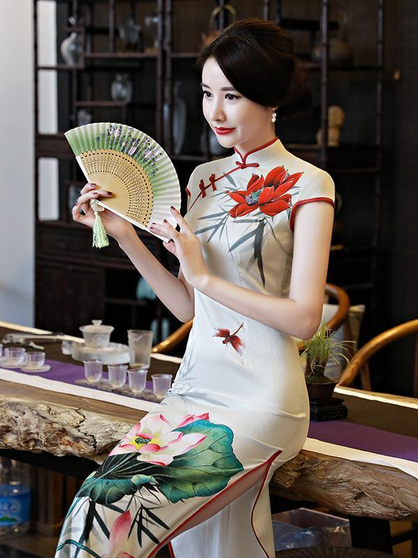 Vintage Floral-printed Stand Neck Side Split Long Cheongsams Dress