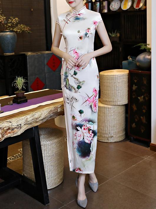 Vintage Wash Printing Stand Neck Side Split Long Cheongsams Dress
