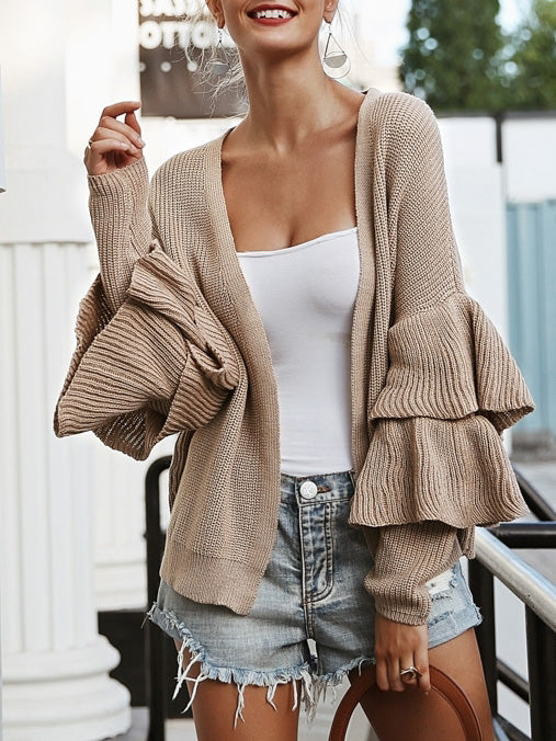 Loose Long Sleeves Falbala Sweater Tops