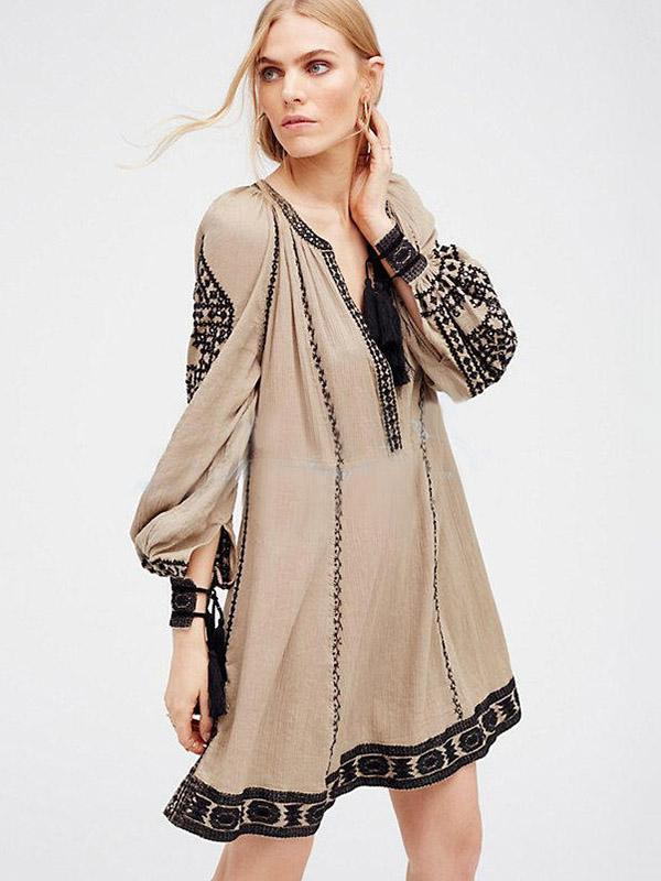 Ethnic-style Embroidery Tassels V-neck Mini Dress