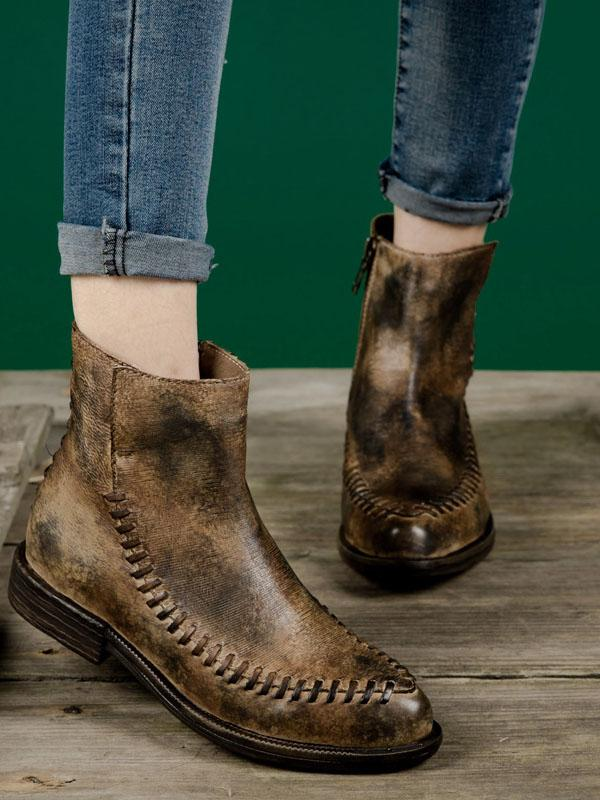 Weaving Cowhide Soft Short Martin Boots