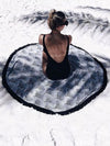 Popular Bohemia Black Tassels Round Beach Mat Yoga Mat