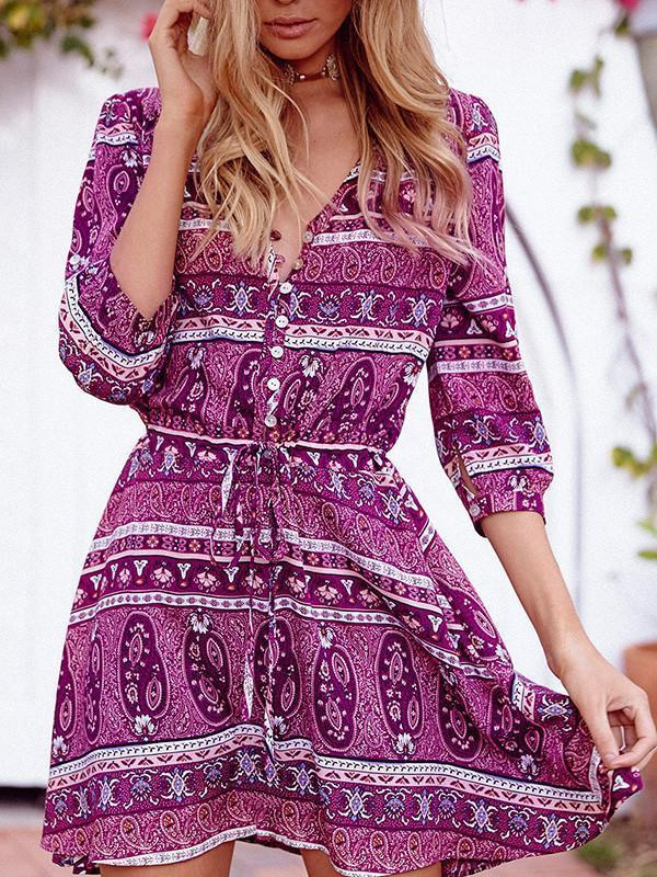 Fashion Bohemia Floral with Buttons 3/4 Sleeve Mini Vacation Dress