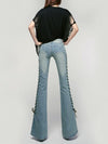 Fashion Bandage Slim Bell-bottoms Jean Pants Bottoms