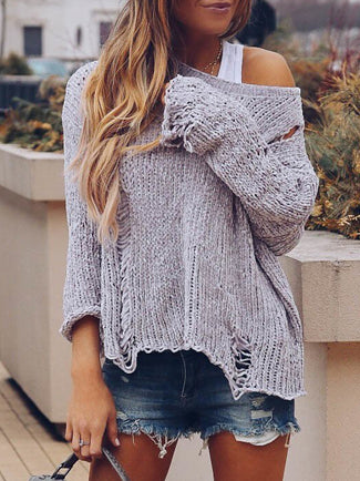 Holes Round-neck Knitting Sweater Tops