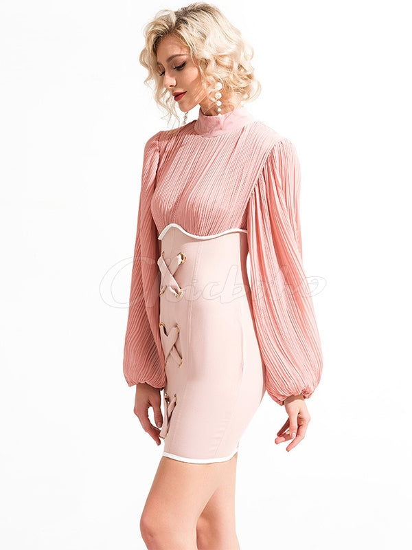 Sexy Ruffled Bandage Split-joint Mini Dress