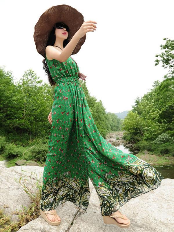 Elegant Floral-Print Slim Fit Stripes Off-Shoulder Lace-Up Maxi Dress