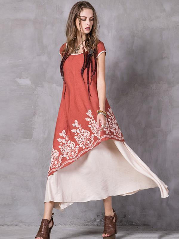 Asymmetric Embroidered Maxi Dress