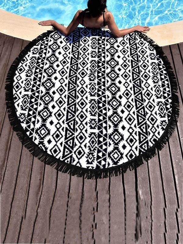 Popular Black Tassels Round Beach Mat Yoga Mat