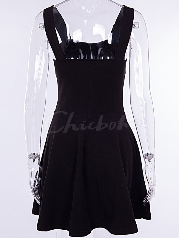 Gothic Style Zipper Condole Belt Black Mini Dress