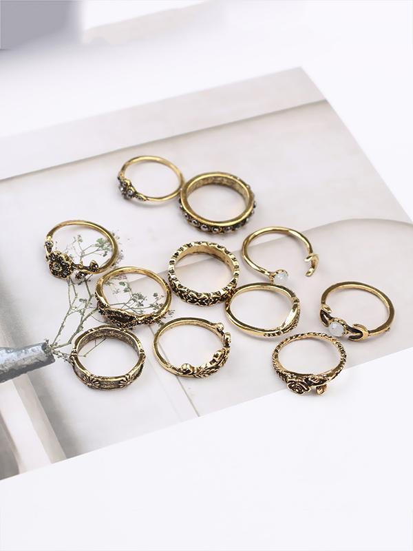 11pcs Vintage Rose&Leaf Carved Hollow Rings Accessories