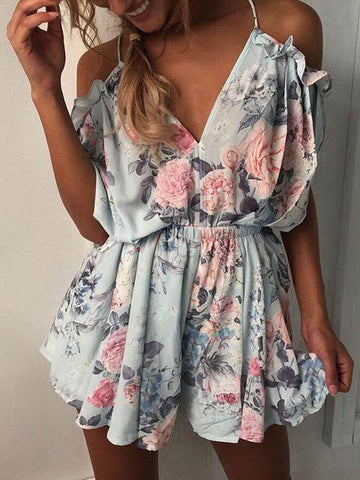 Printed Lace-up Backless Mini Romper