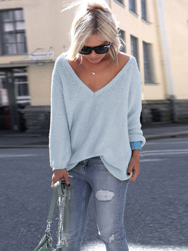 Loose 7 Color Long Sleeves Sweater Tops