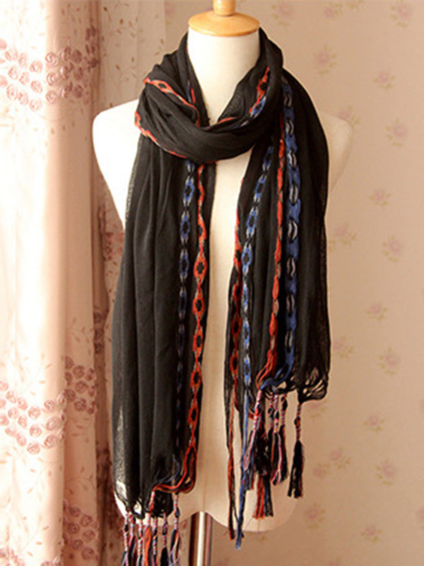 5 Colors Fashion Simple Tasseled Scarf