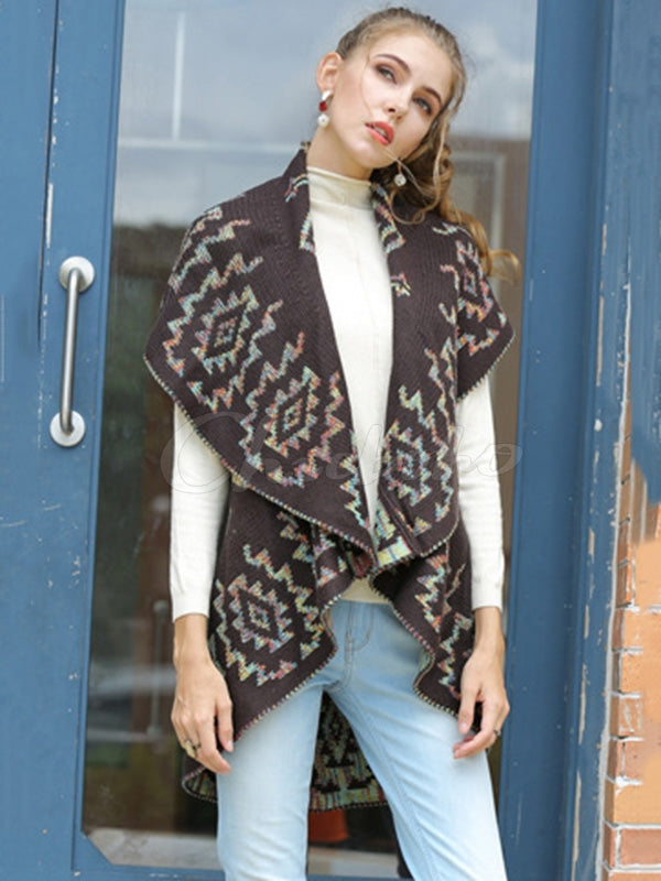 Jacquard Sleeveless Cardigan Coat