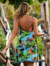 Bohemia Floral-Print Strapes Off-Back Sleeveless Loose Mini Beach Dress