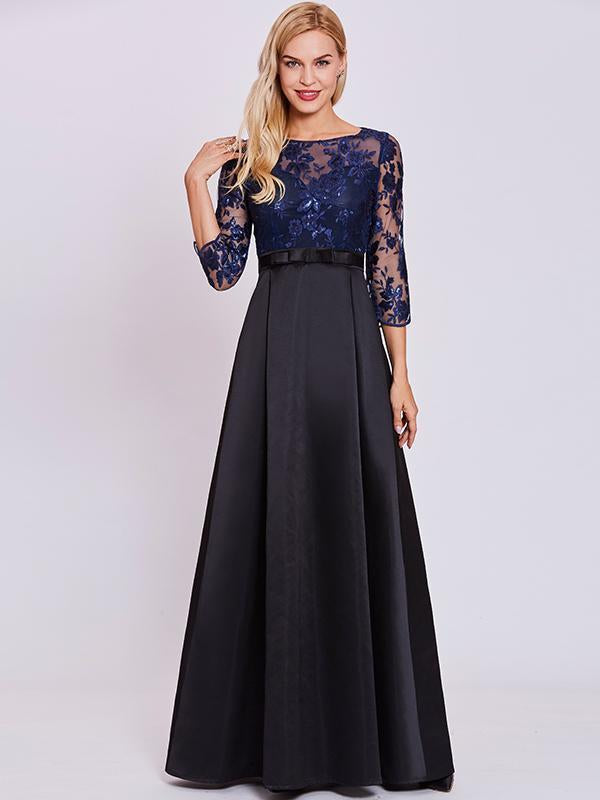 3/4 Sleeves Lace Hollow Evening Dress