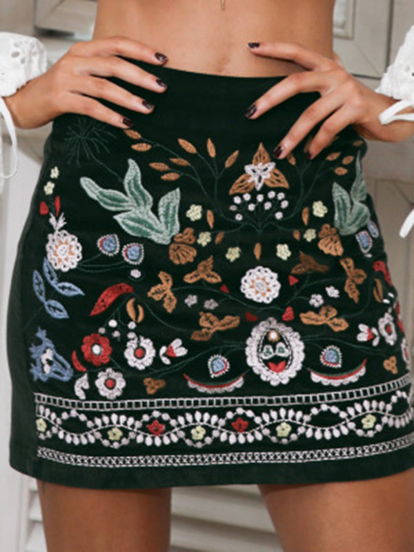 Vintage Embroidered Tasselled Short Skirt Bottom