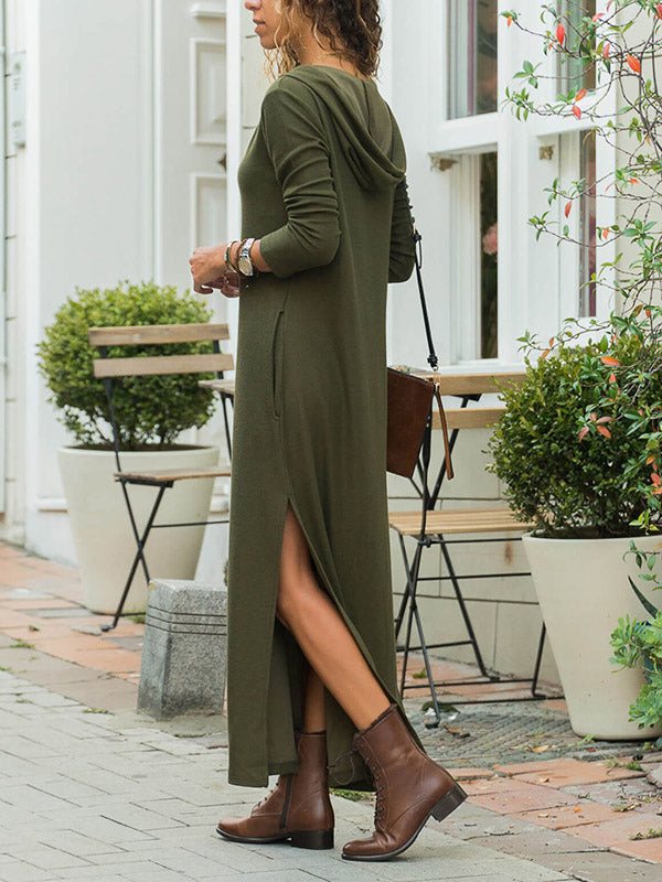 V-neck Long Sleeves Army Green Split-side Maxi Dress