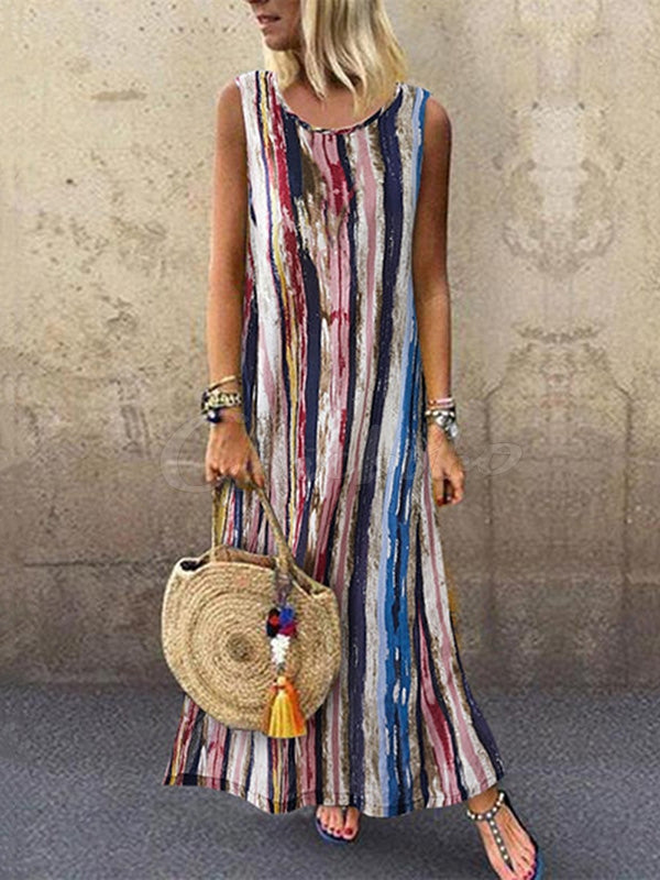 Vertical Striped Sleeveless Round-neck Maxi Dress
