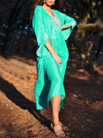 2 Colors Long Sleeves Midi Dress