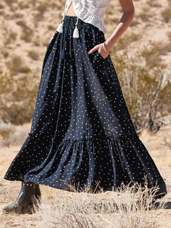 Polka-dot Empire Split-joint Skirt Bottoms