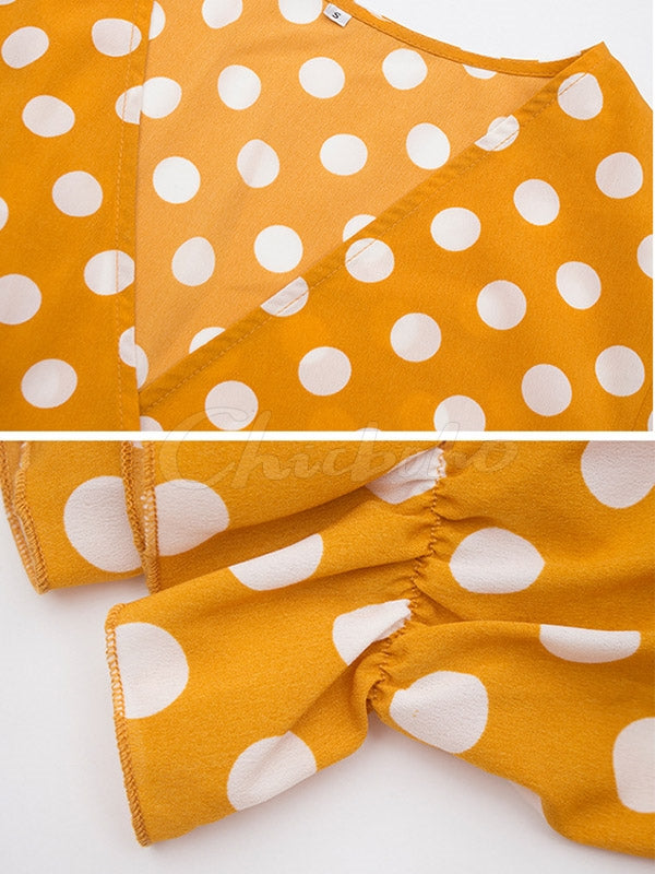 Polka Dot Leaf Hem V-Neck Dress