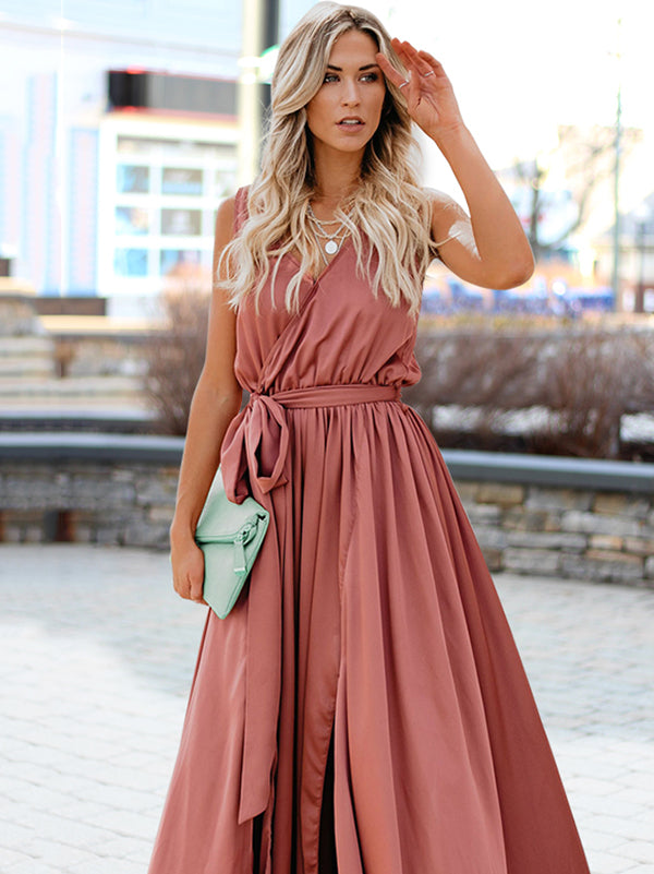 Sleeveless Belted V-neck Maxi Dress