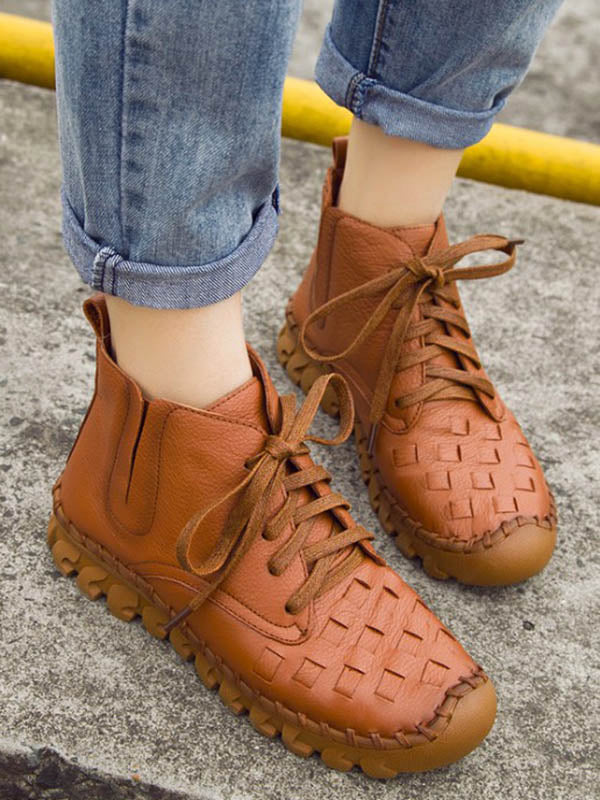Solid Color Leather Bandage Booties
