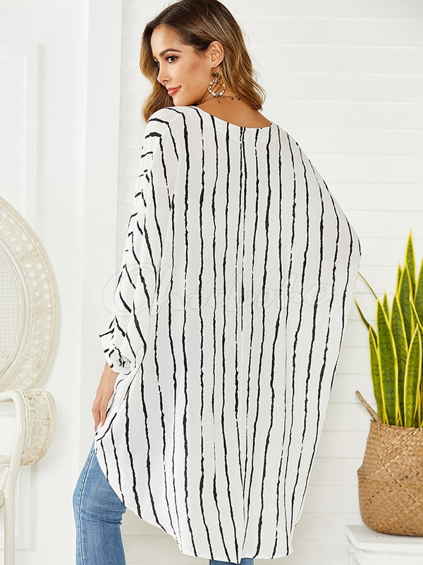 Striped Long Sleeve Irregular V-neck T-shirt