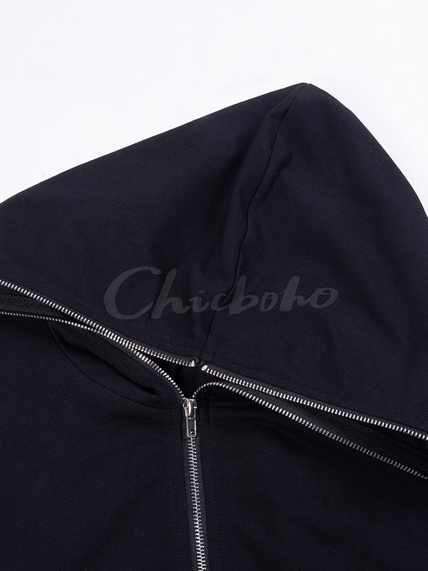 Loose Diagonal Zip Hoodies