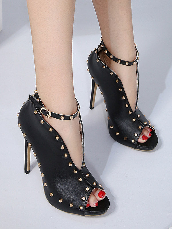 Rivet Peep-toe Heels Shoes