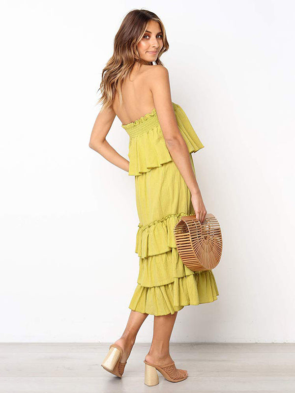 Solid Strapless Tiered Two-piece Dress
