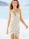 Halterneck Crocheted Mini Cover-Up Beach Wrap Dress