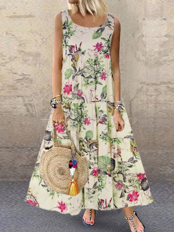 Vintage Floral Printed Sleeveless Bohemia Maxi Dress