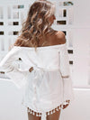 White Off-the-shoulder Veil Mini Dress