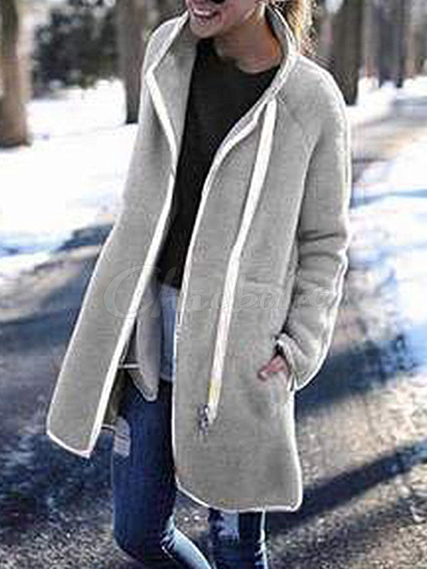 Fashion Casual Wool Button Zipper Outwears