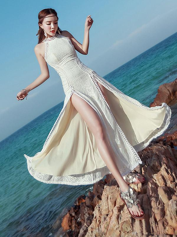 Bohemia White Halterneck Split-side Maxi Dress