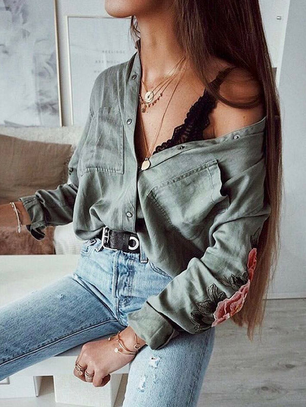 Long Sleeve Army Green Blouses&Shirts Top