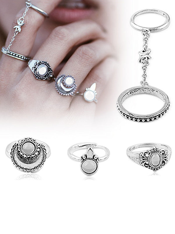 5PCS Vintage Hollow Rings Accessories