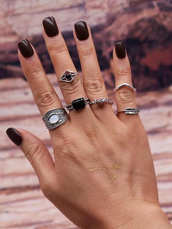 6PCS Vintage Silver Rhinestone Rings Accessories